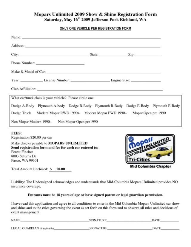 Car Show Registration Form Templates 4.