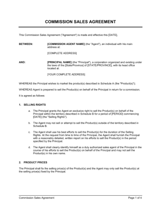 Commission Agreement Template 3.
