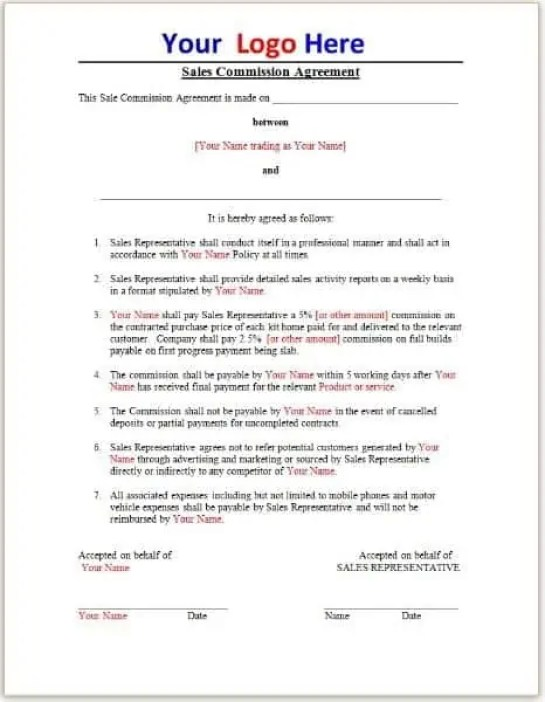 Commission Agreement Template 5.