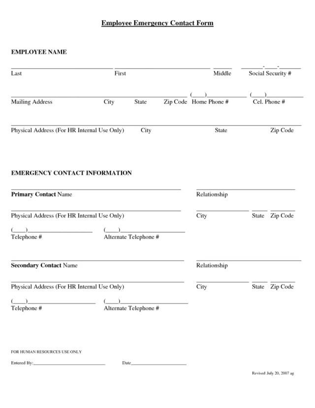 Employee Emergency Contact Form 2.
