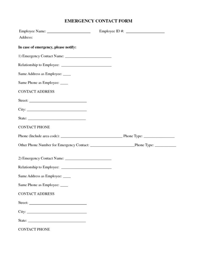 Employee emergency contact forms find word templates for Photo contact sheet template word