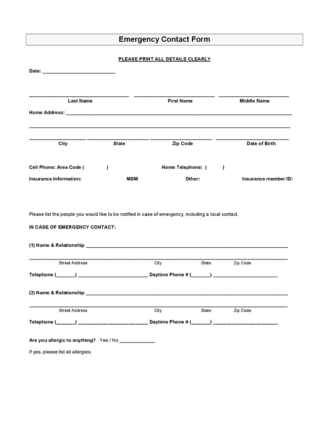 Employee Emergency Contact Forms - Find Word Templates