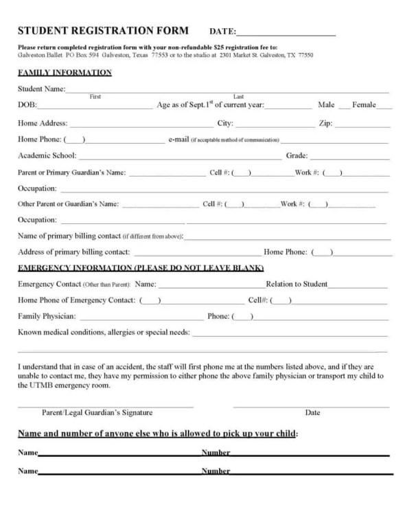 Registration Form Template 4.