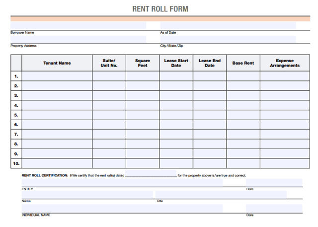 Rent Roll Template 8.