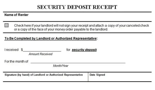 Security Deposit Receipt Template 2