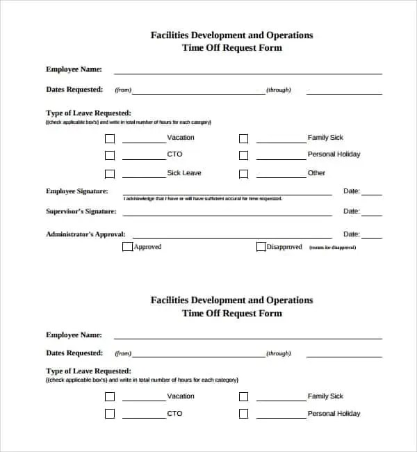 Printable Time Off Request Form  LondaBritishcollegeCo