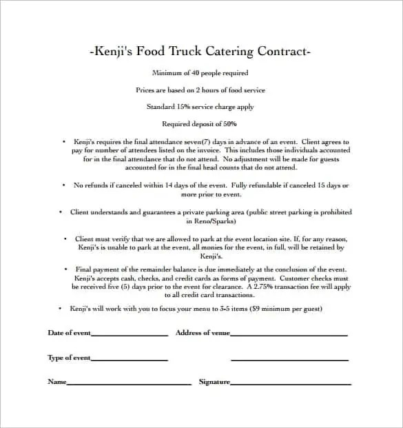 Catering Contract Templates - Find Word Templates