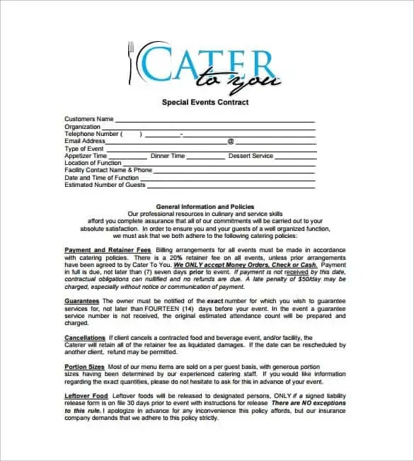 Catering contract form catering contract pdfcatering for Catering questionnaire template