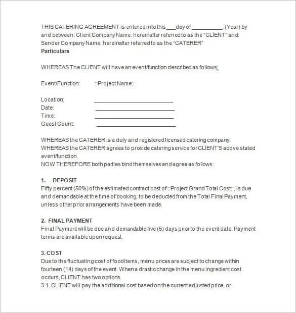 Catering contract templates find word templates for Catering contracts templates
