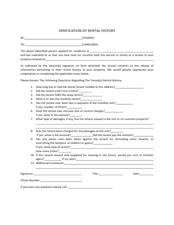 Beautiful Rent Verification Letter Pattern - Best Resume Examples by ...