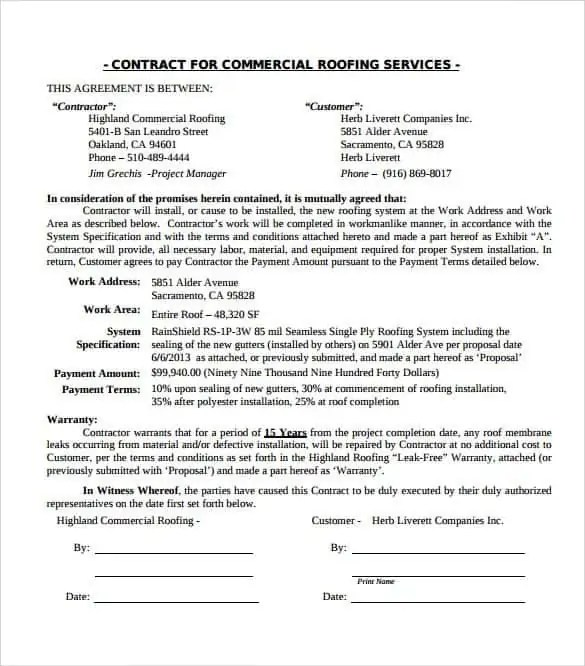 Roofing Contract Templates Find Word Templates