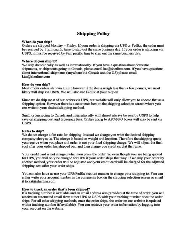 shipping policy template 1.