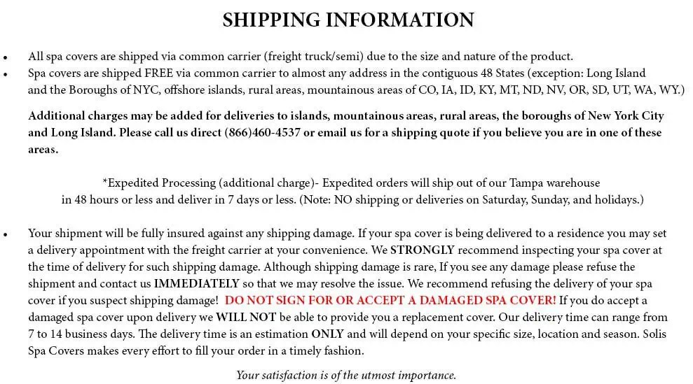 shipping information template