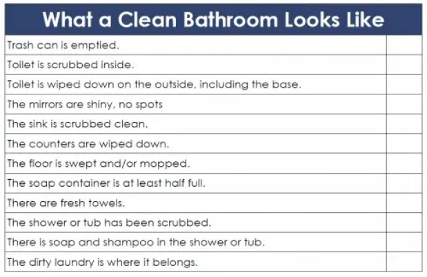 toilet cleaning checklist templates