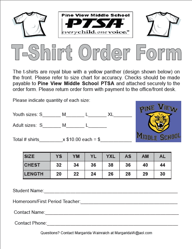 Tshirt Order Forms Find Word Templates