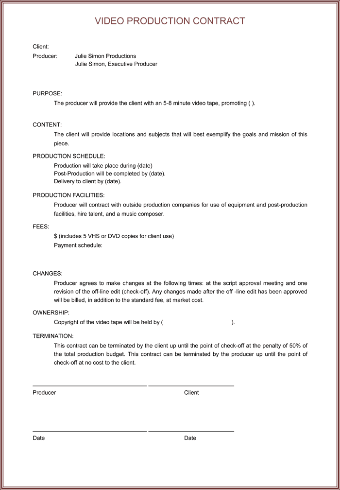 Video Production Contracts  Find Word Templates