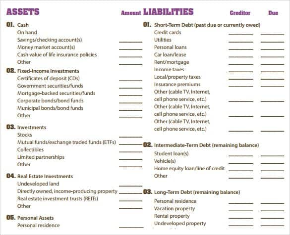 Balance Sheet Templates Find Word Templates – Free Personal Balance Sheet Template