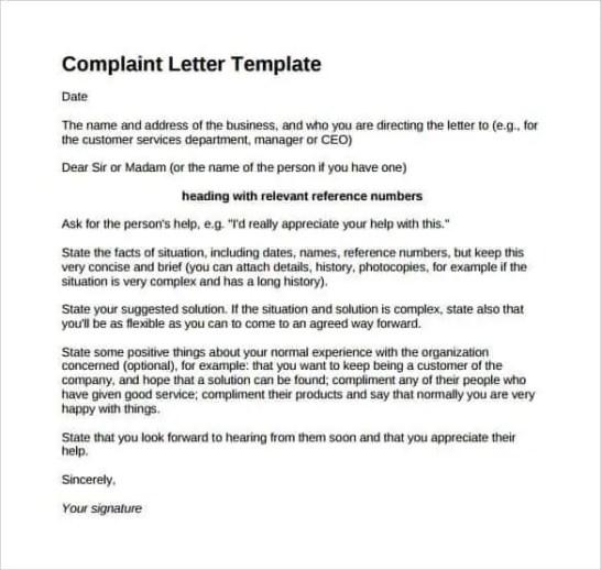 complaint-letter-format-5