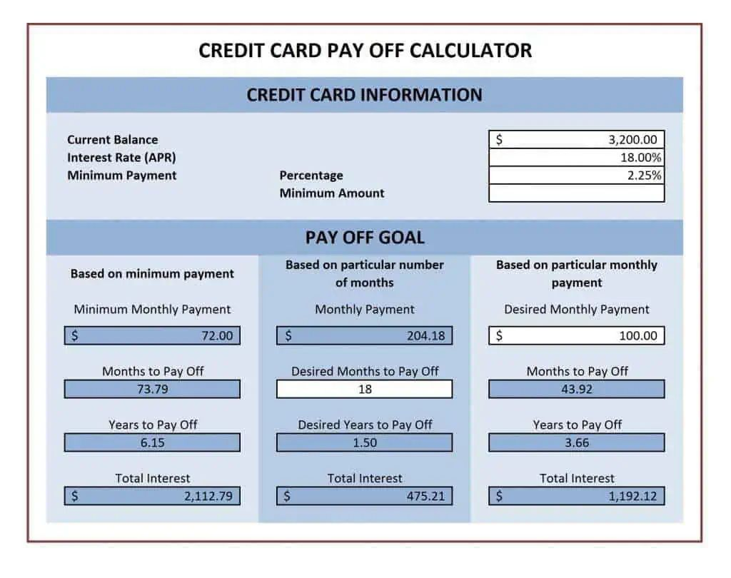 excel credit card payoff