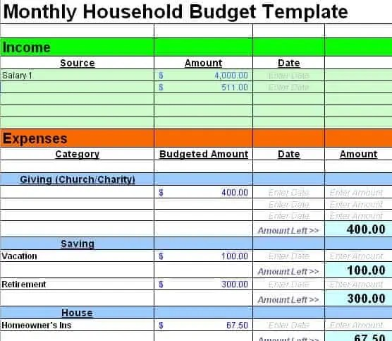 Family budget template household budget all form templates for Monthly living expenses template