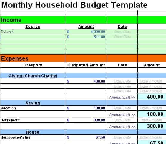 Household Budget Templates - Find Word Templates
