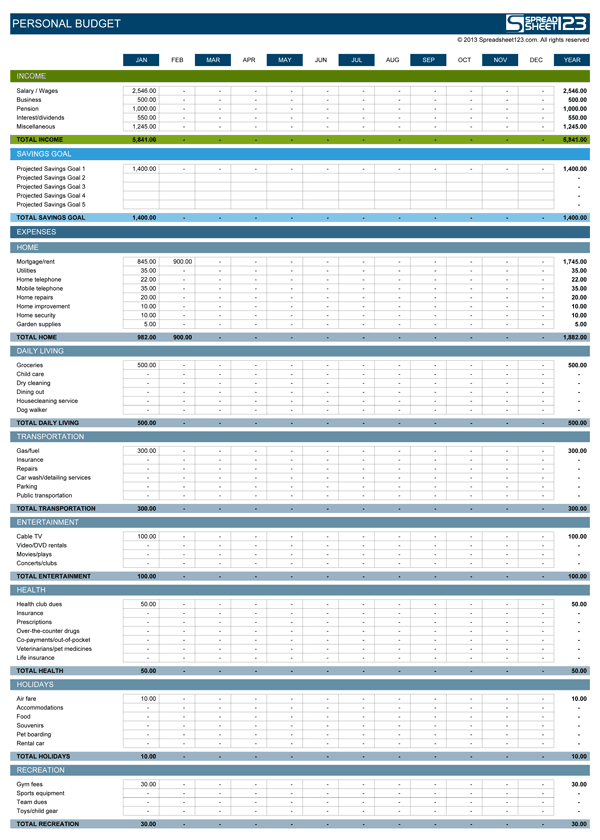 Personal Budget Spreadsheet 7.