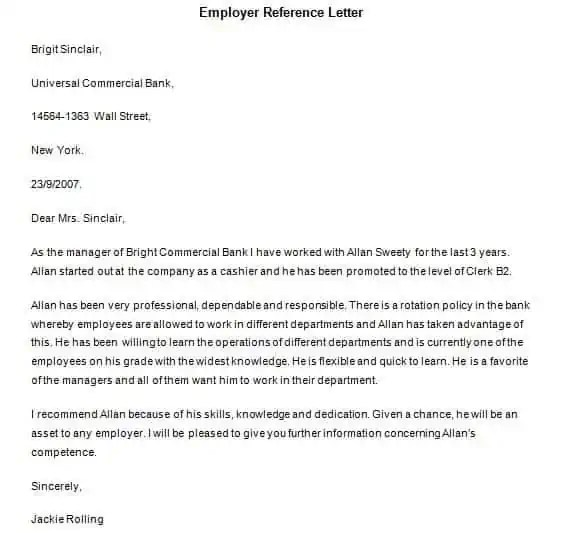 Reference Letter Outline. Reference Letter Template 1 Reference