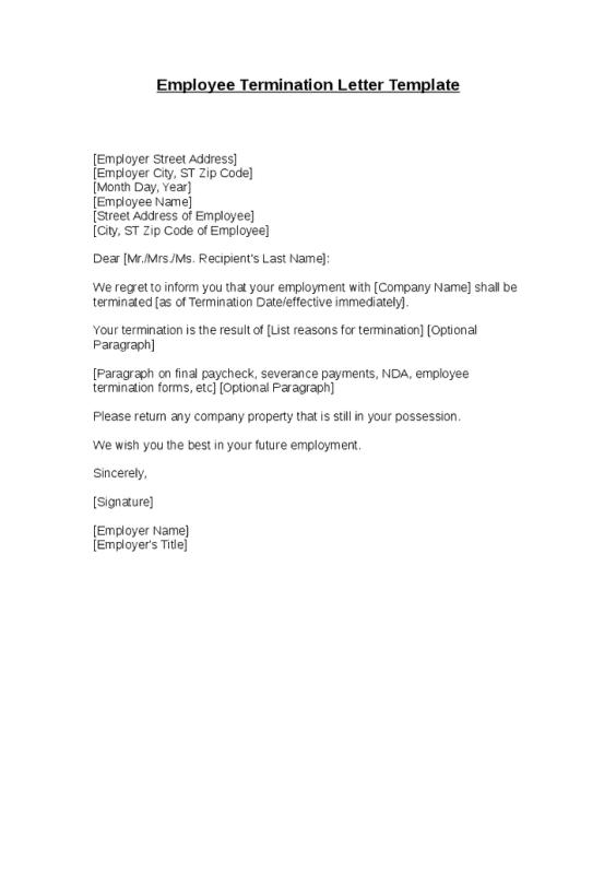 Termination Letter Format 3.