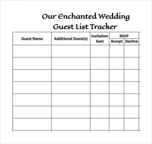 Wedding Guest Lists Excel Find Word Templates