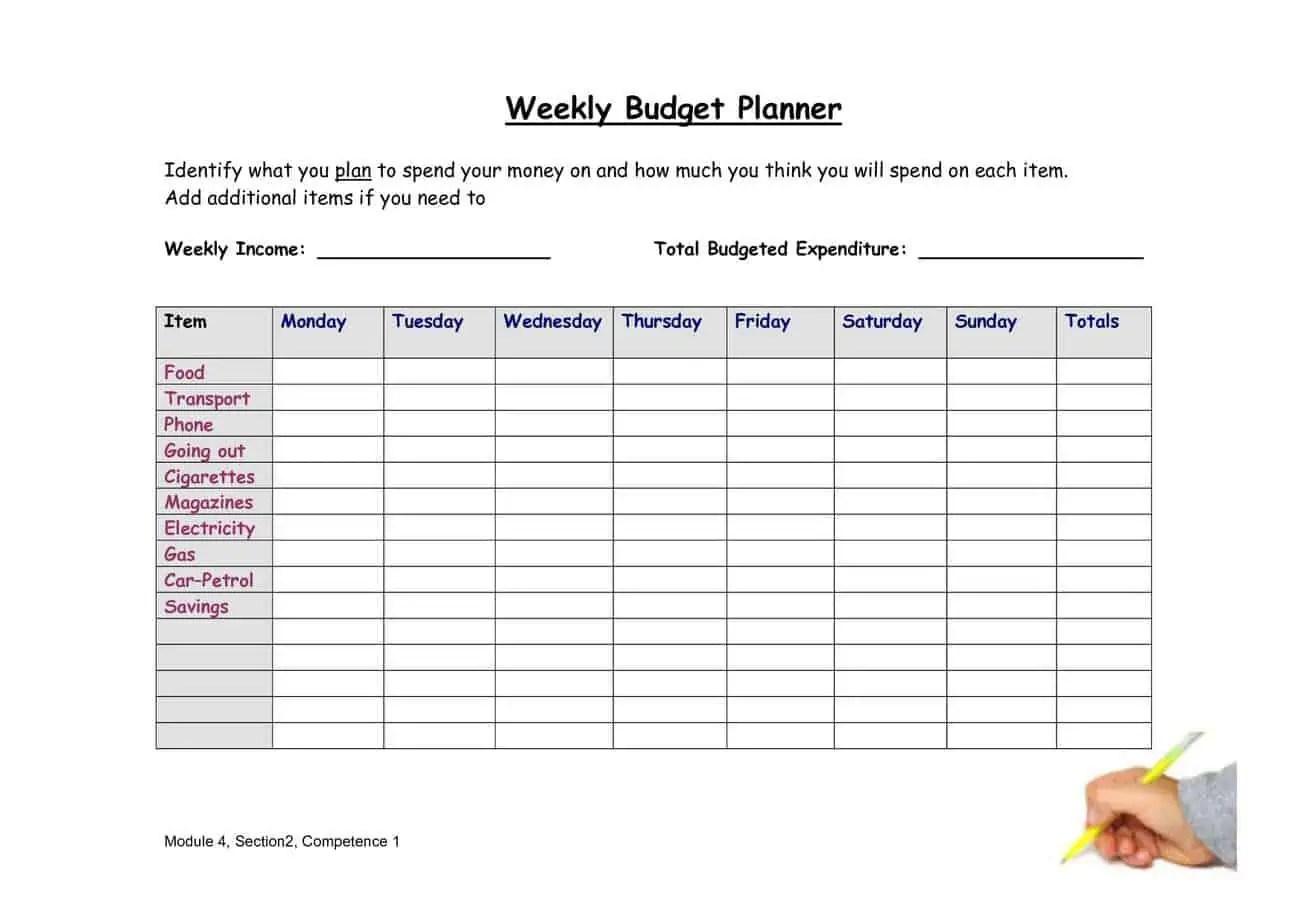 Weekly Budget Planners - Find Word Templates