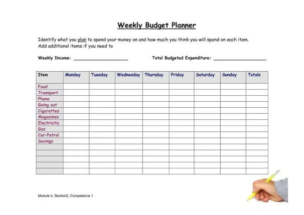 Definition 20 best photos of weekly budget sheet weekly budget planner - Wallstyles