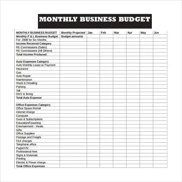 Business Budget Template Templates