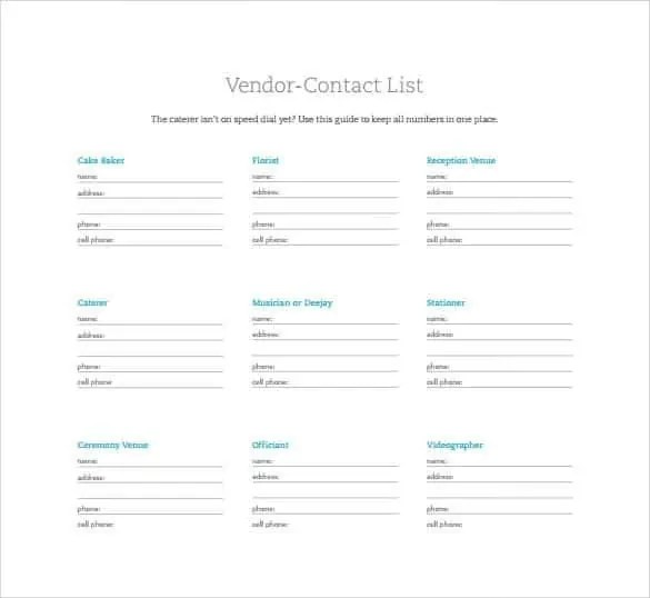 Contact List Templates - Find Word Templates