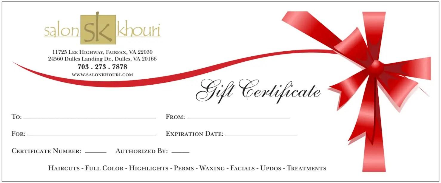 Salon Gift Certificate Template Free