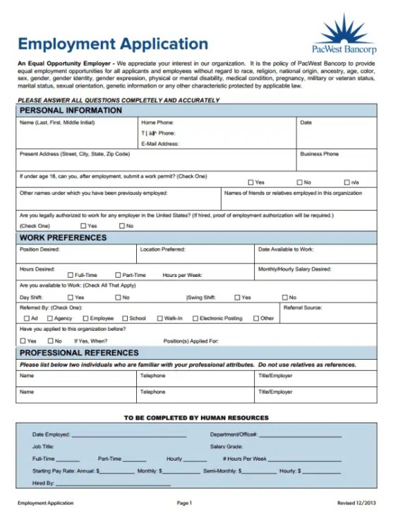 how to make a job application form in word