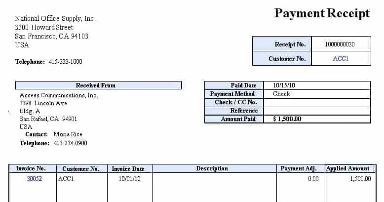 receipt of payment templates
