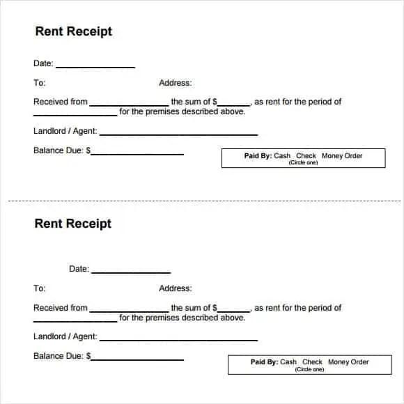 rent receipt template 10.