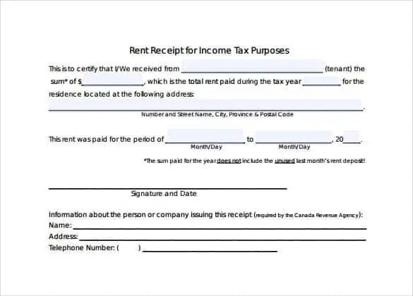 rent receipts for tax purposes