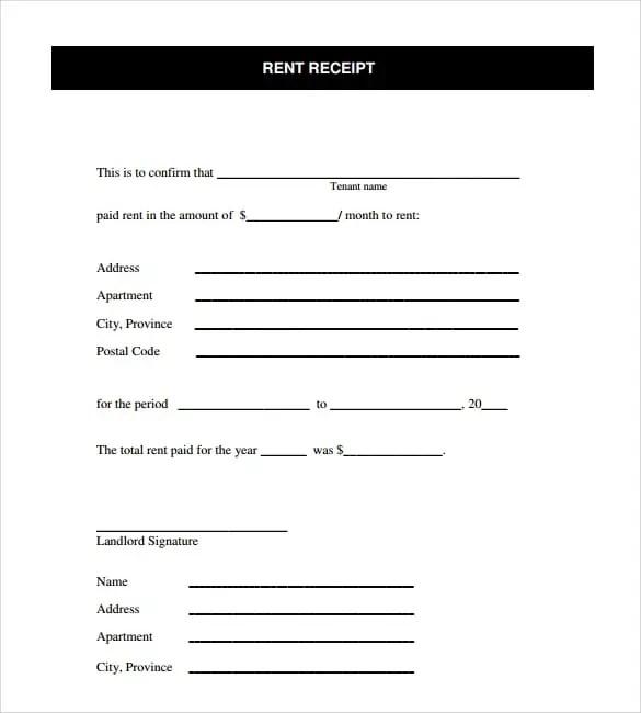 Apartment Rent Search: Rent Receipt Templates