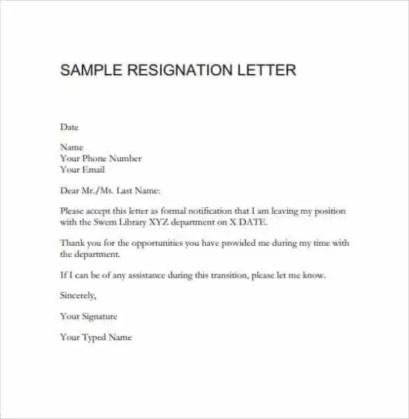 Resignation Letter Formats - Find Word Templates