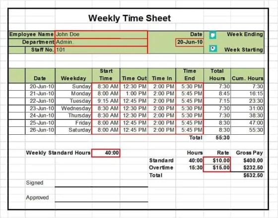 timesheet template 5.
