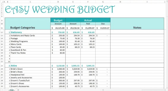 wedding budget spreadsheet 2.