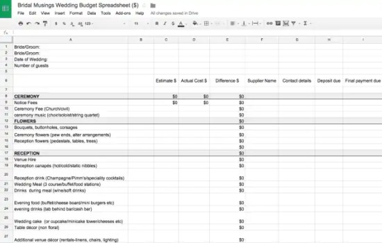 wedding budget spreadsheet 5.