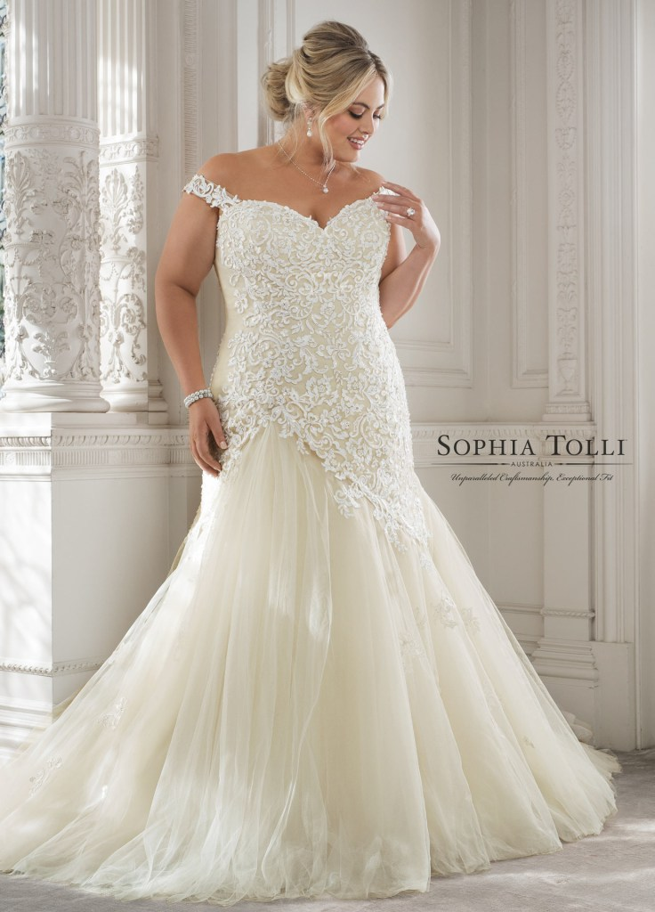 6667ea23797c4 Sophia Tolli's wedding dresses are known for their figure-flattering, sexy  silhouettes, so we think every bride will love them, no matter their size  or ...