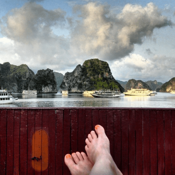 Lounging on a boat cruise around Ha Long Bay, Vietnam