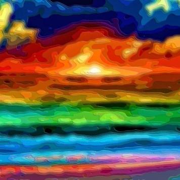 Art Print Landscape Ocean Sunset