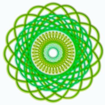 Spirograph Layer Art Green Swirl