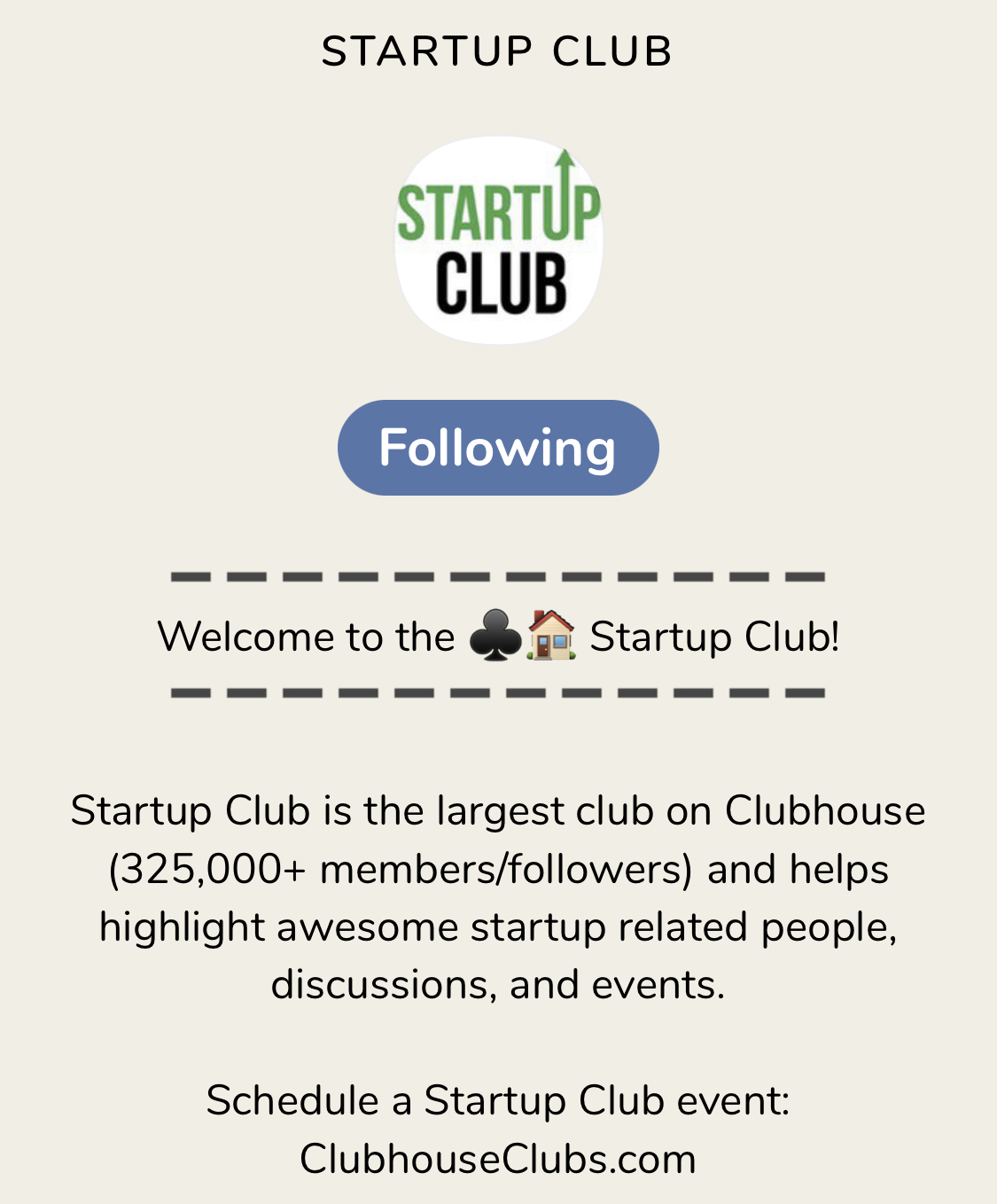 Screenshot Clubhouse App Clubseite