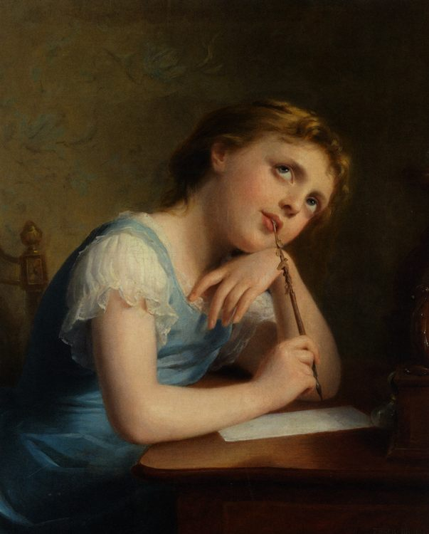 Distant Thoughts :: Fritz Zuber-Buhler - Portraits of young girls in art and painting - paintings - masterpieces of art