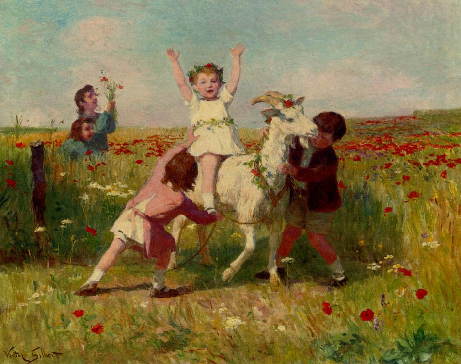 New Tricks :: Victor Gabriel Gilbert - Children's portrait in art and painting - paintings - masterpieces of art